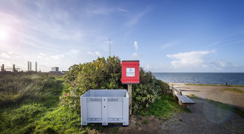 A 'Coastal Lottery' collection point on a beach in Esbjerg, Denmark.