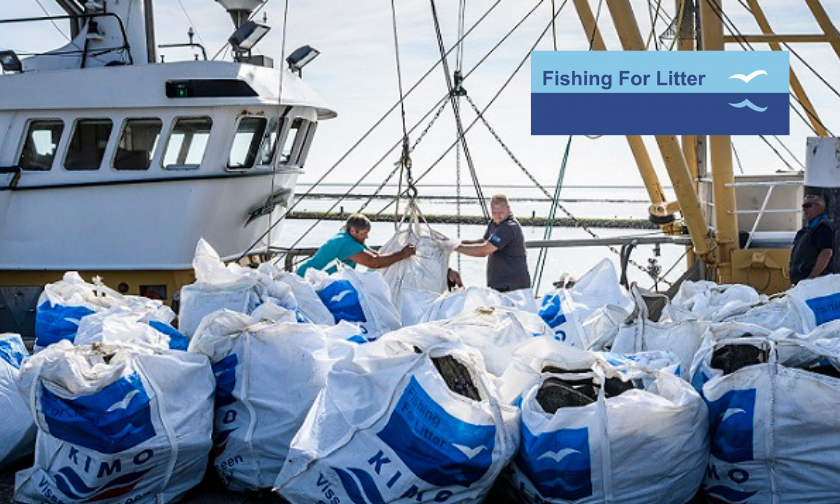 Fishermen in the Netherlands unloading Fishing for Litter waste in big bags.