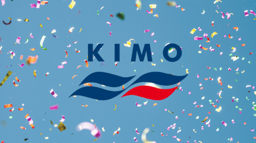 Plastic confetti flying through the air, with KIMO logo.