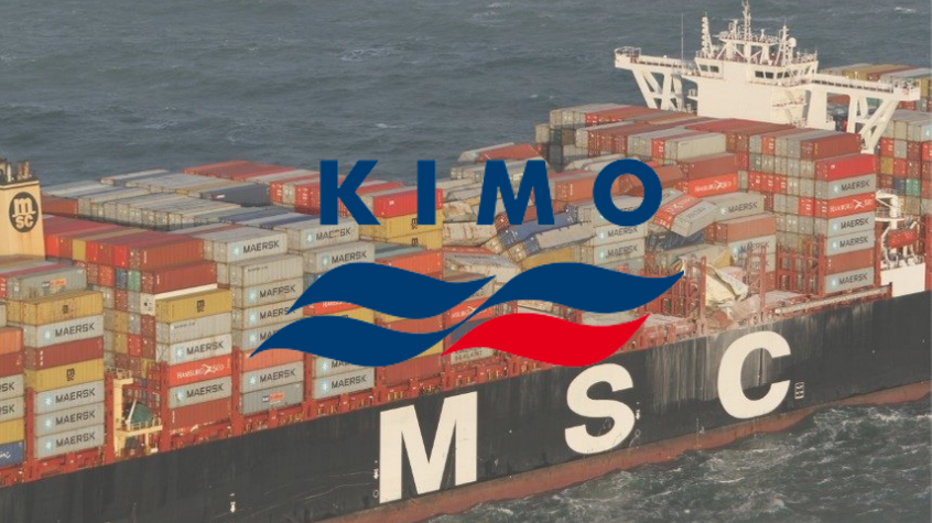 Shipping containers toppled on the MSC Zoe, with KIMO logo.