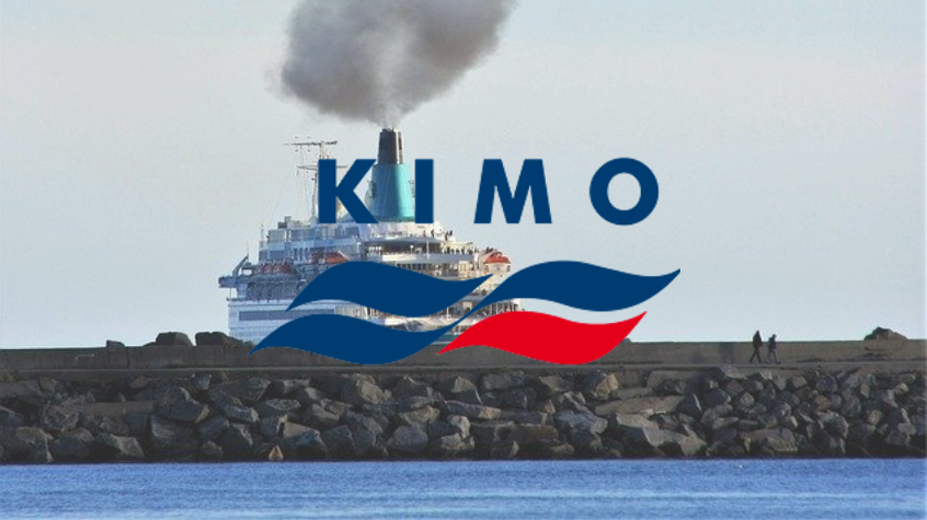 A plume of smoke showing the air pollution from cruise ships, with KIMO logo.