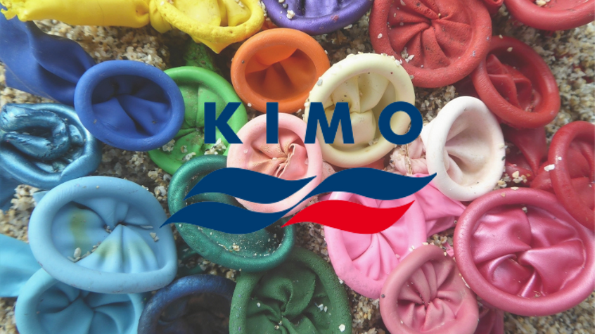 Balloons washed up as marine litter on a beach, with KIMO logo.