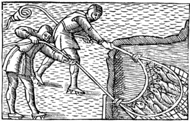 A woodcutting showing two figures pulling in a net full of fish.