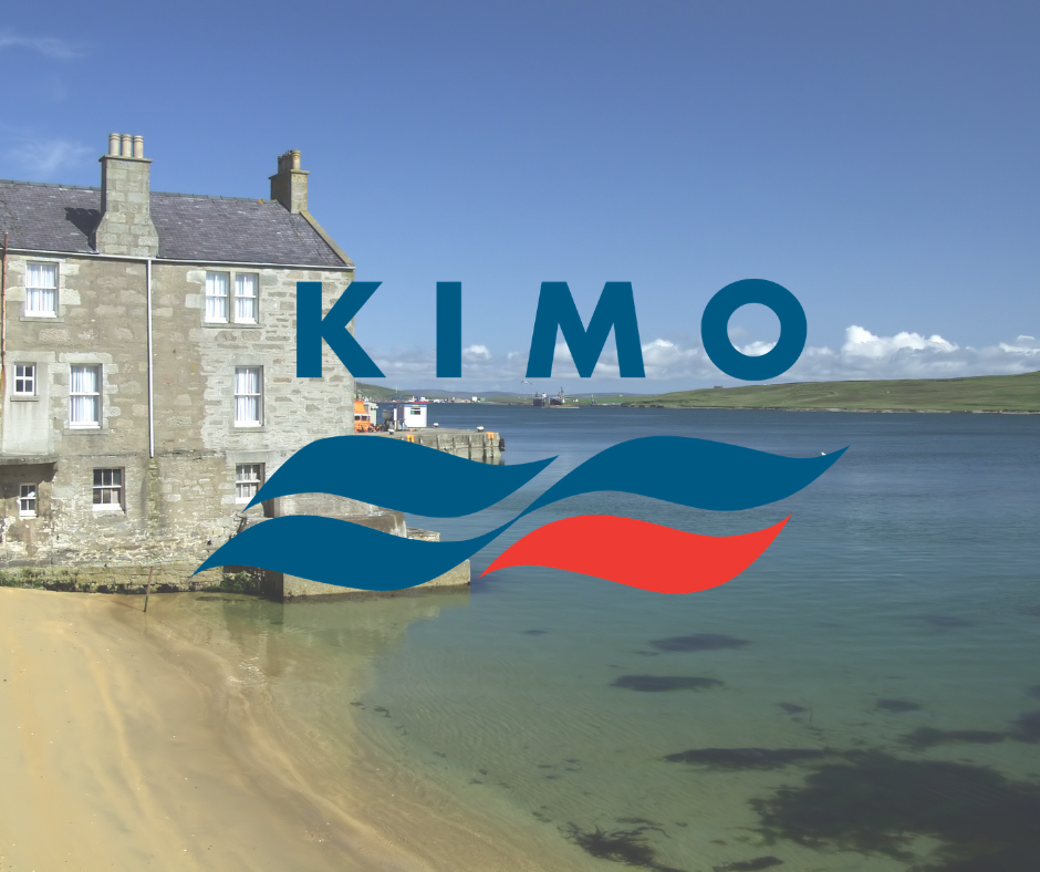 A house on the beach in Shetland, on the of the members of KIMO UK, with KIMO logo.