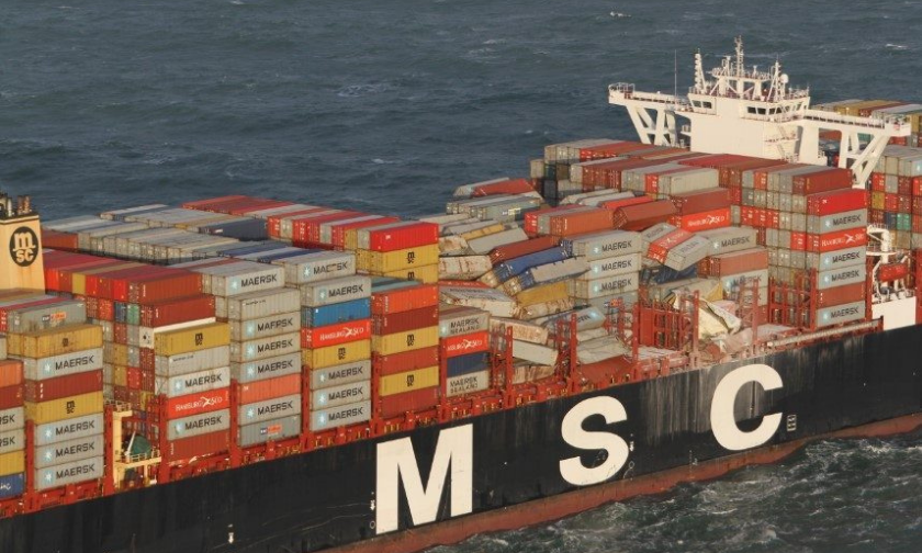 A cargo vessel following an accident involving lost shipping containers