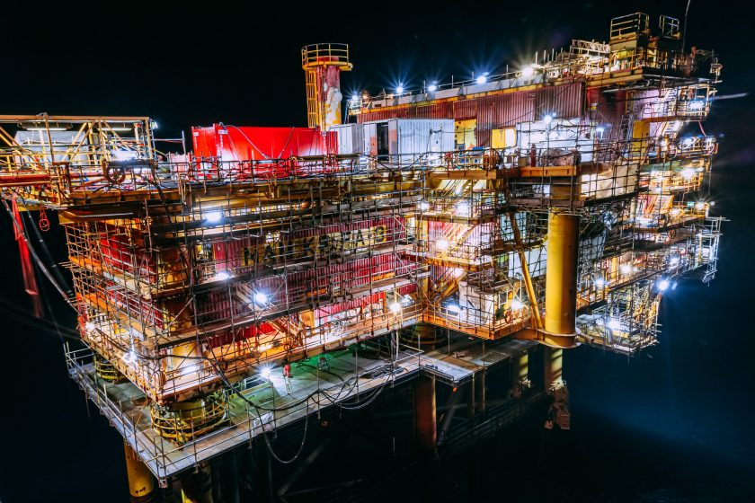 An North Sea drilling platform being partly decommissioned as oil fields begin to dry up.