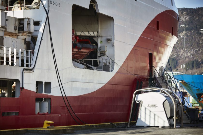 A ship in Bergen, Norway plugged into a shore side power supply.